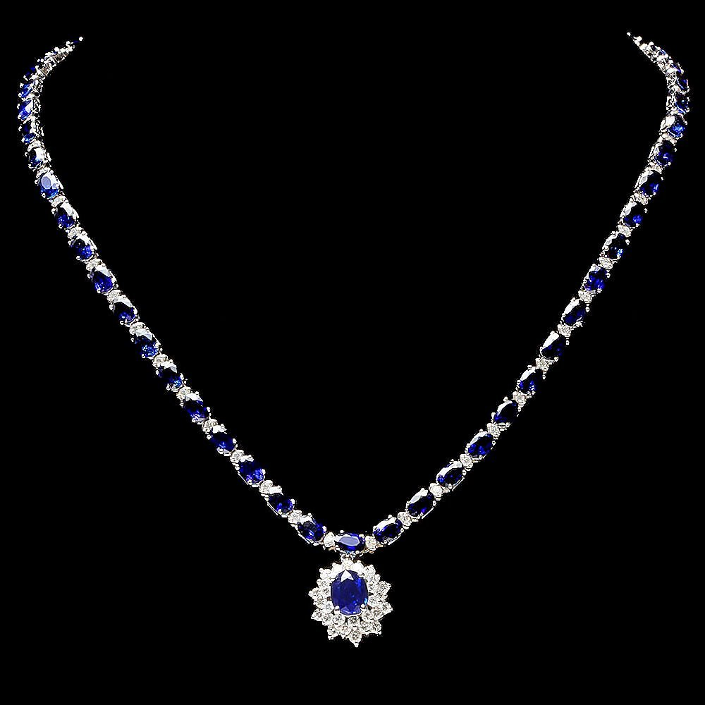 14k Gold 29ct Sapphire 2.80ct Diamond Necklace