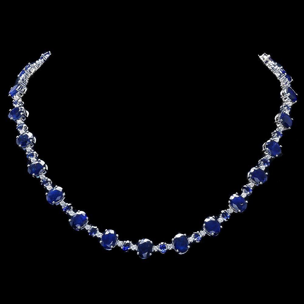 14k Gold 58ct Sapphire 2.15ct Diamond Necklace