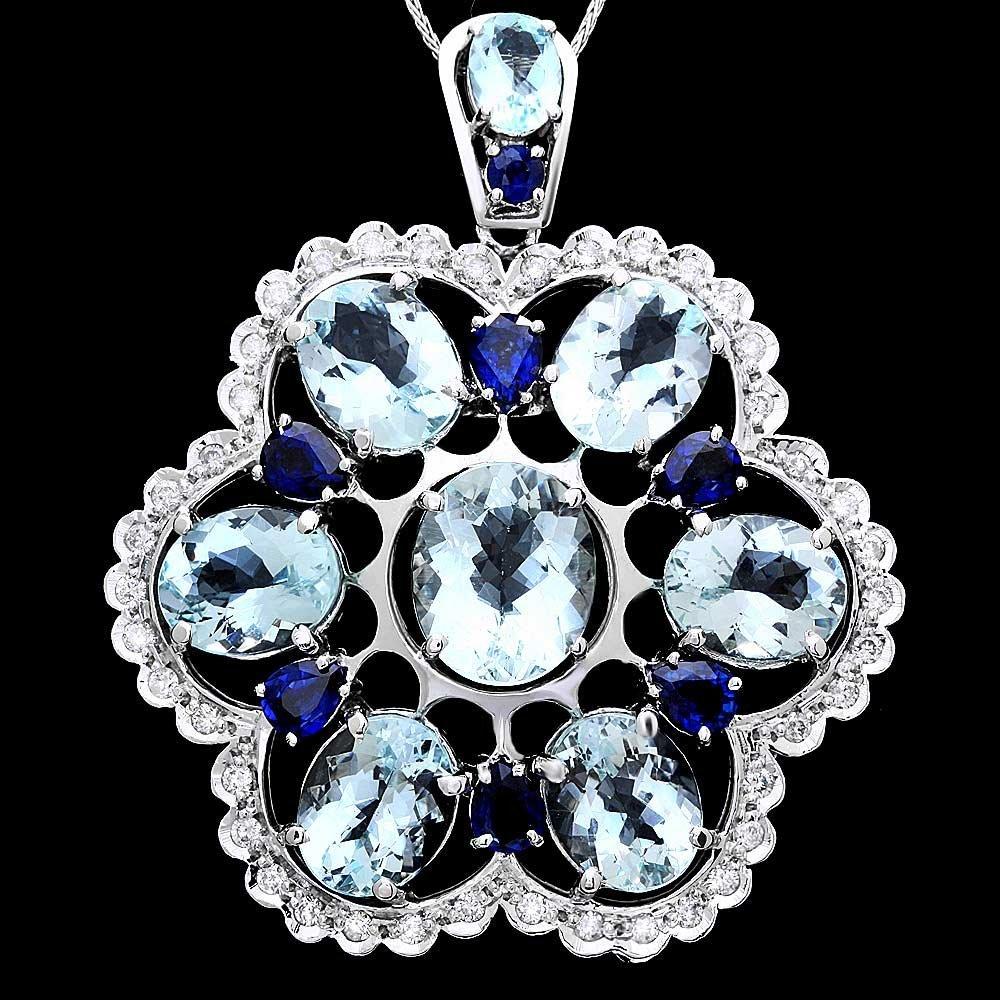 14k Gold Aquamarine Sapphire Diamond Pendant