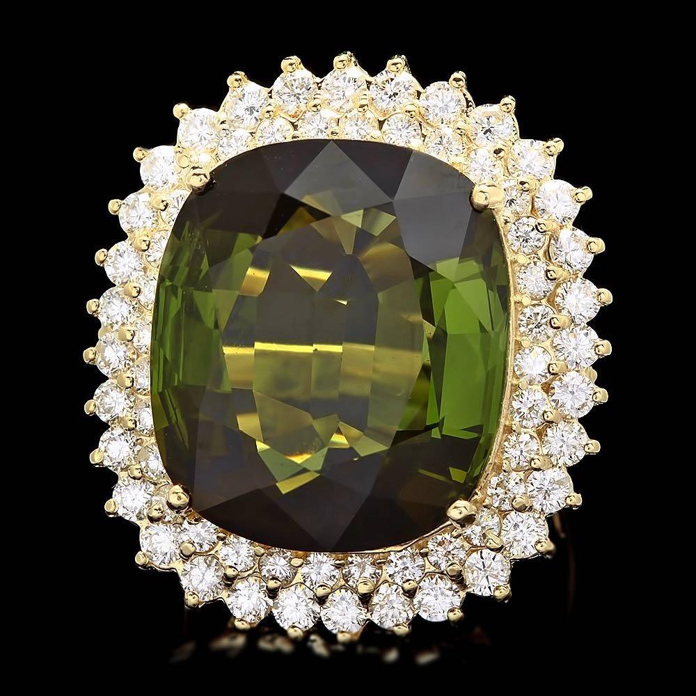 14k Gold 30ct Tourmaline 2.50ct Diamond Ring