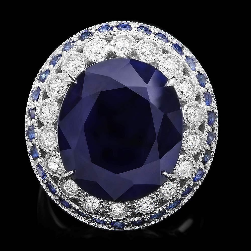 14K White Gold 13.5ct Sapphire & 0.80ct Diamond Ring