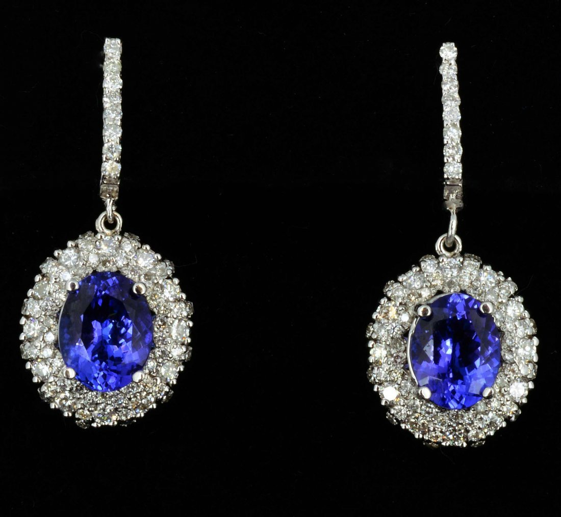 14K Gold, 4.15CT Tanzanite & 1.60CT Diamond Earrings
