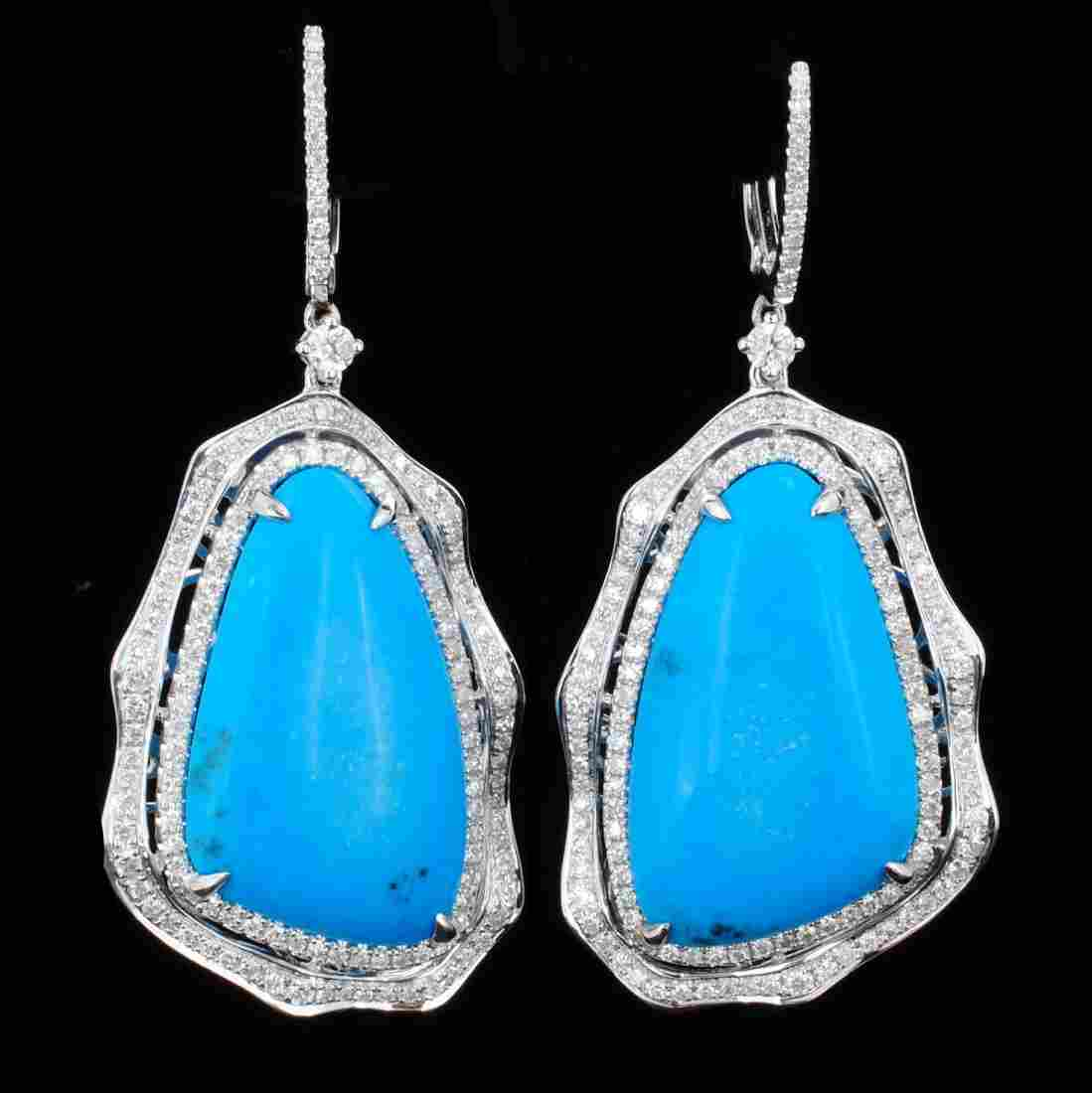 14K Gold 26.40ct Turquoise & 1.48ct Diamond Earrings