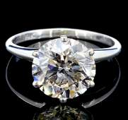 14K White Gold 3.28ct Diamond Solitaire Ring