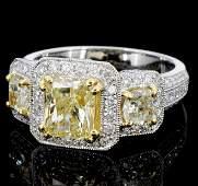 18K Yellow  White Gold 279ctw Color Diamond Ring