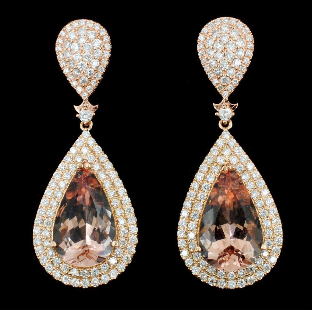 14K Gold 18.38ct Morganite & 3.40ct Diamond Earrin