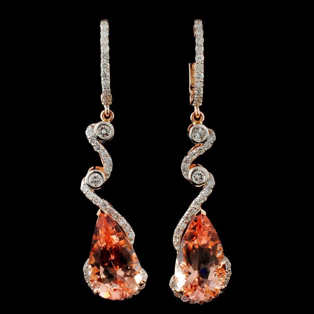 14K Gold 14.40ct Morganite & 1.75ctw Diamond Earri