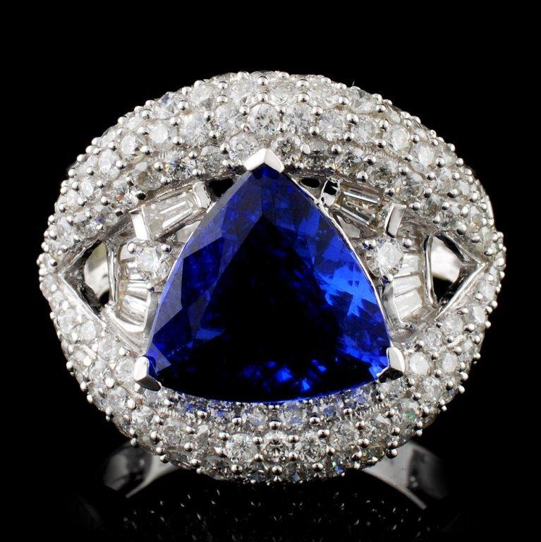 18K Gold 2.63ct Tanzanite & 2.10ctw Diamond Ring