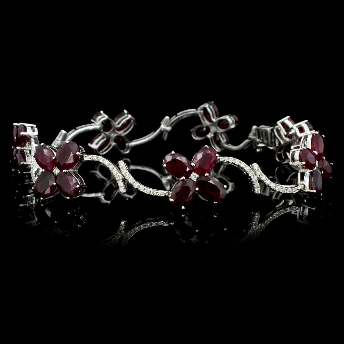 14K Gold 17.45ct Ruby & 1.14ct Diamond Bracelet