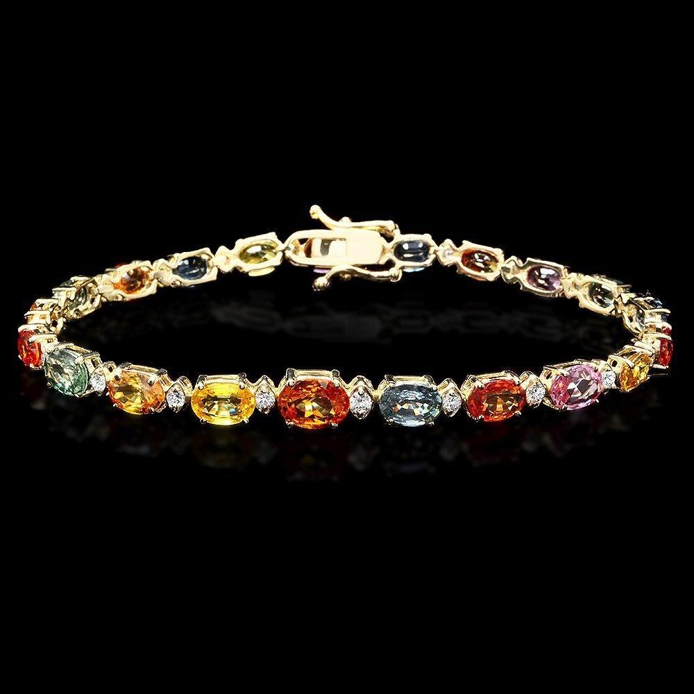 14k Gold 15ct Sapphire 0.70ct Diamond Bracelet