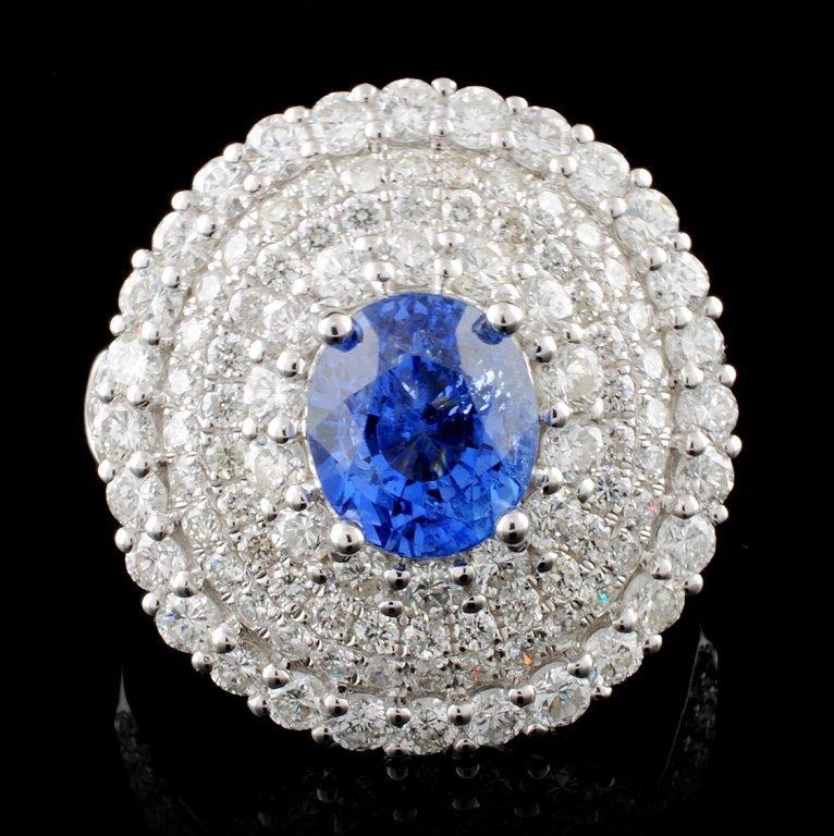 18K Gold 2.71ct Sapphire & 2.52ct Diamond Ring