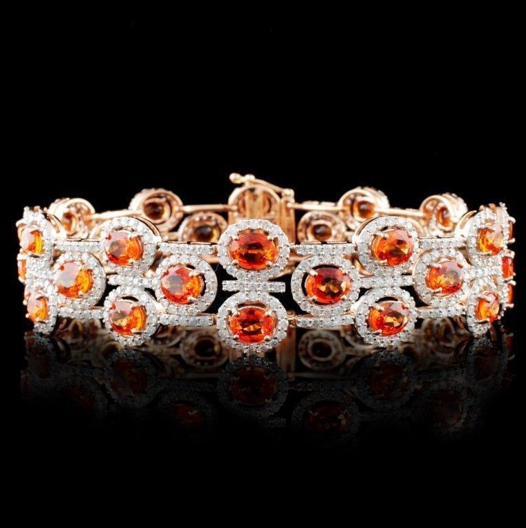 14K Gold 14.58ct Sapphire & 4.77ct Diamond Bracele