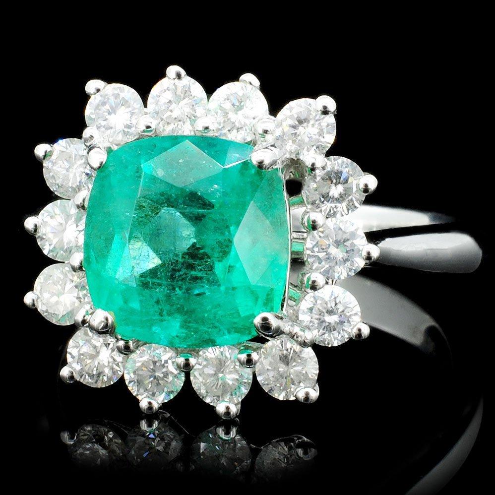 18K Gold 2.46ct Emerald & 0.81ct Diamond Ring