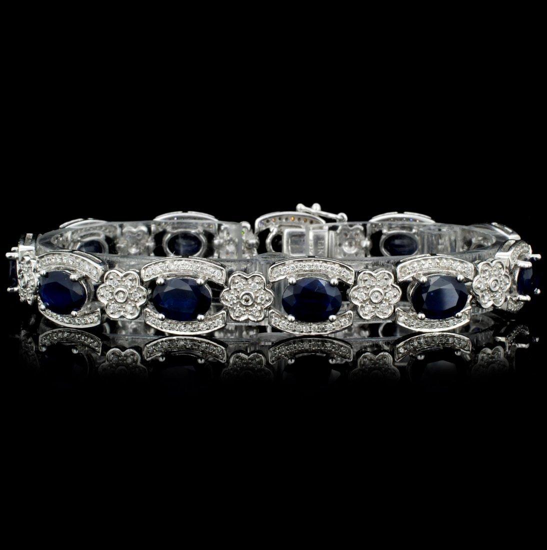 14K Gold 15.34ct Sapphire & 1.32ct Diamond Bracele