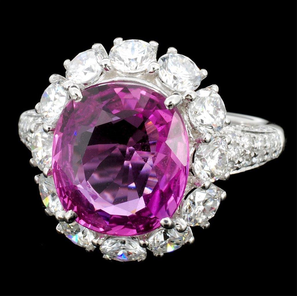 18K Gold 4.80ct Pink Sapphire & 2.16ct Diamond Rin