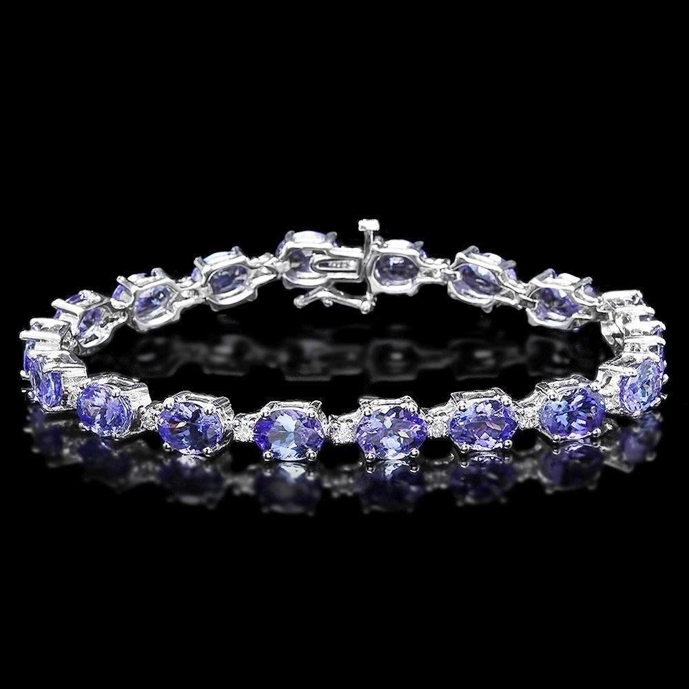 14k Gold 19.5ct Tanzanite 0.80ct Diamond Bracelet
