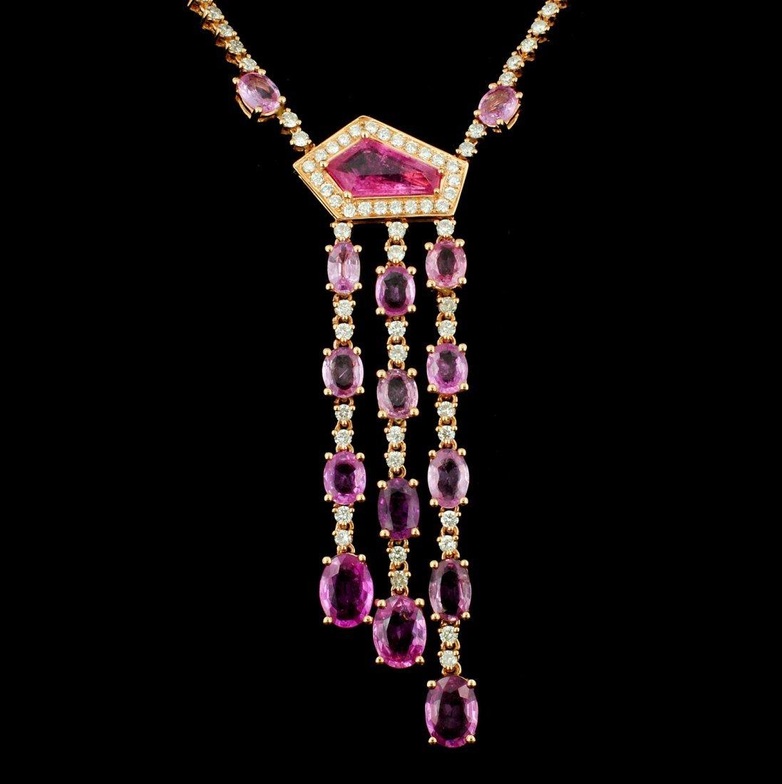 18K Gold 9.09ct Sapphire & 2.56ct Diamond Necklace