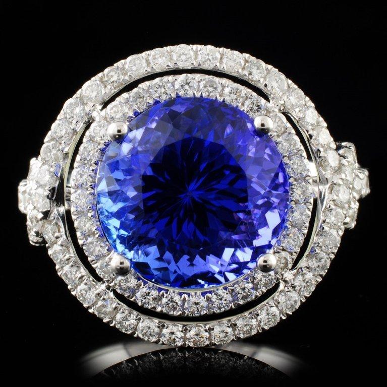 18K Gold 6.04ct Tanzanite & 0.96ct Diamond Ring