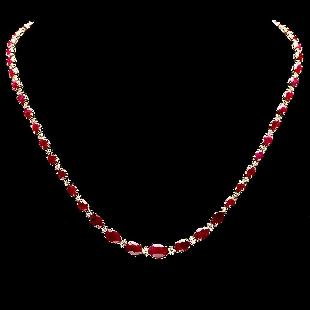 14k Gold 24ct Ruby 1ct Diamond Necklace