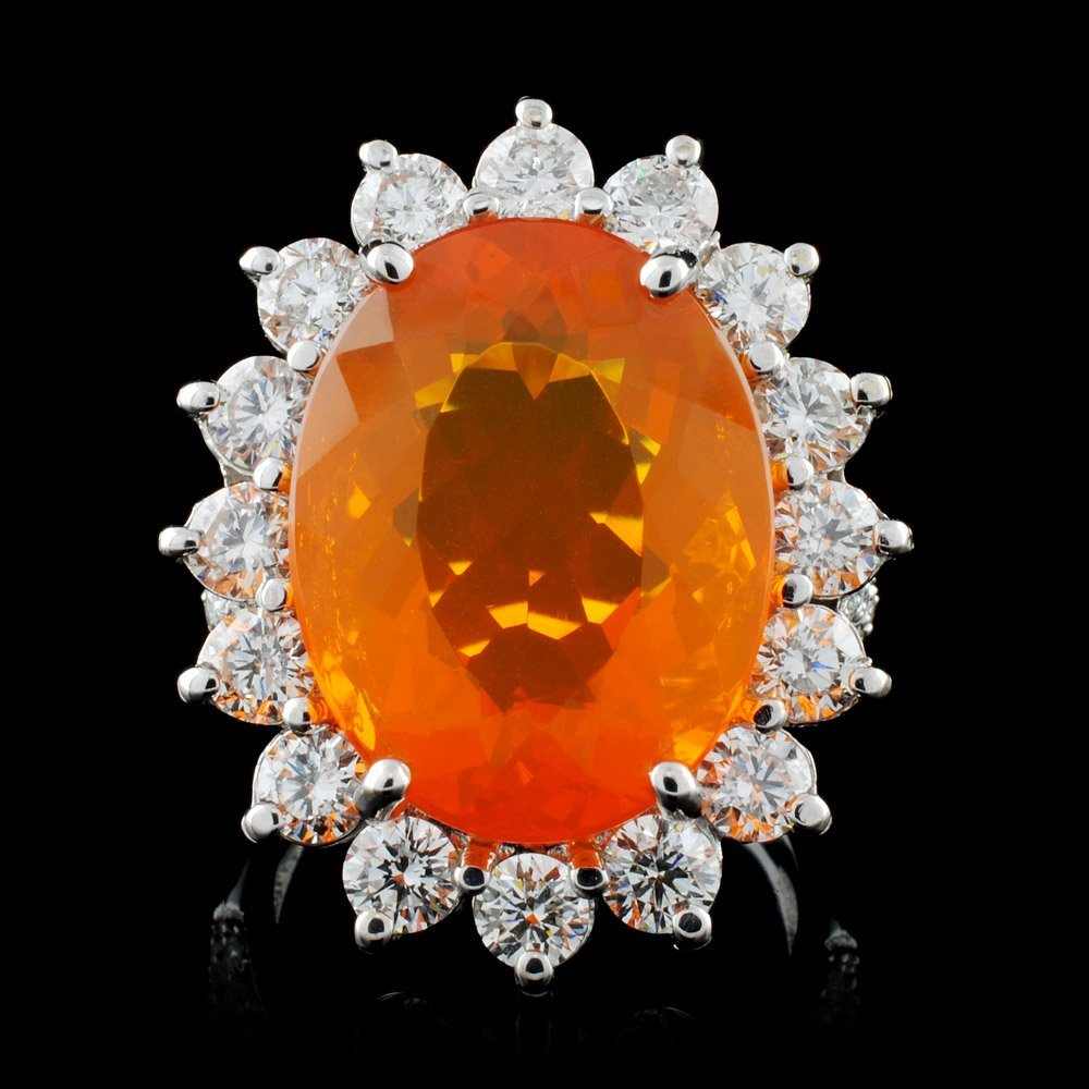 18K White Gold 8.76ct Opal & 2.54ct Diamond Ring