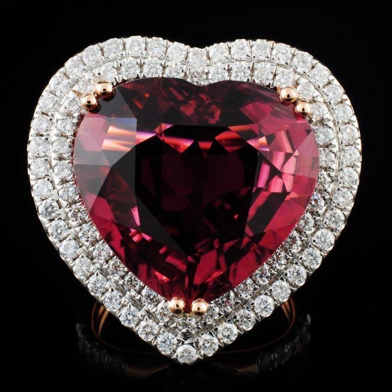 18K Gold 16.47 Rubellite & 1.76ct Diamond Ring