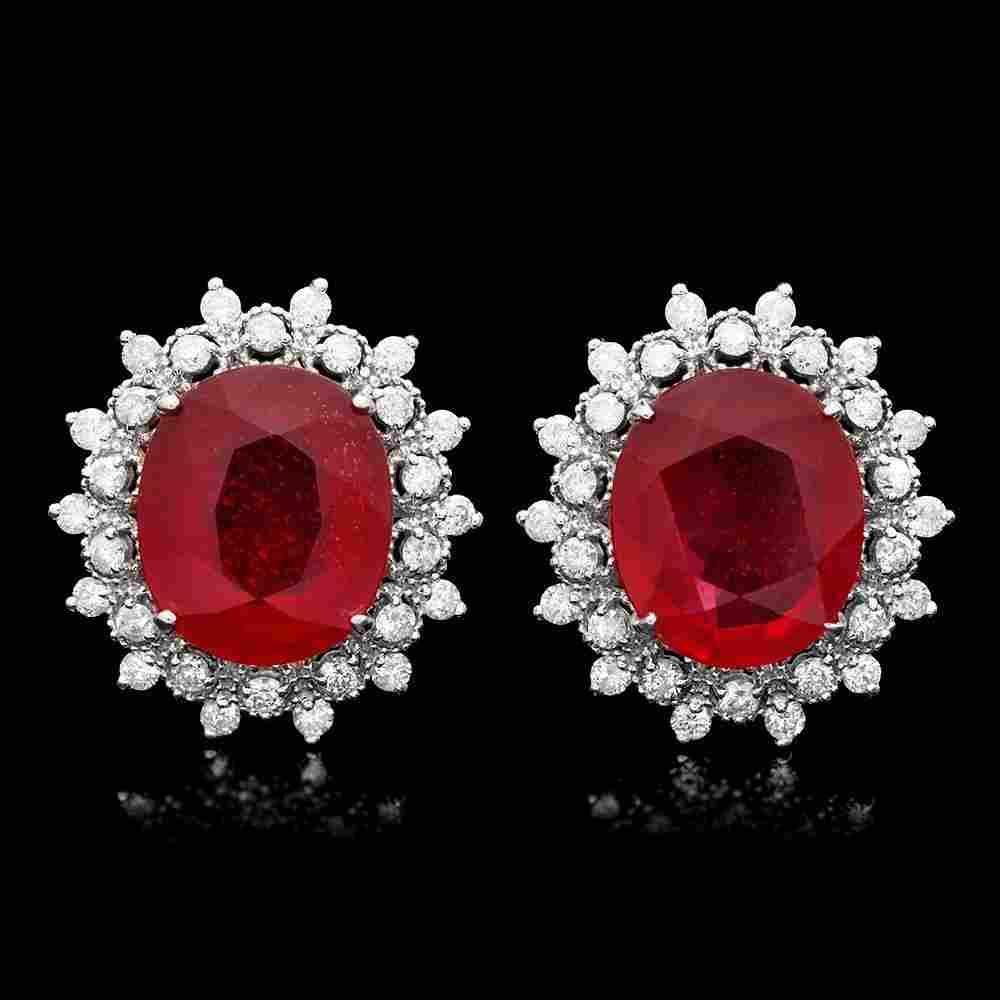 14k Gold 14ct Ruby 1.50ct Diamond Earrings