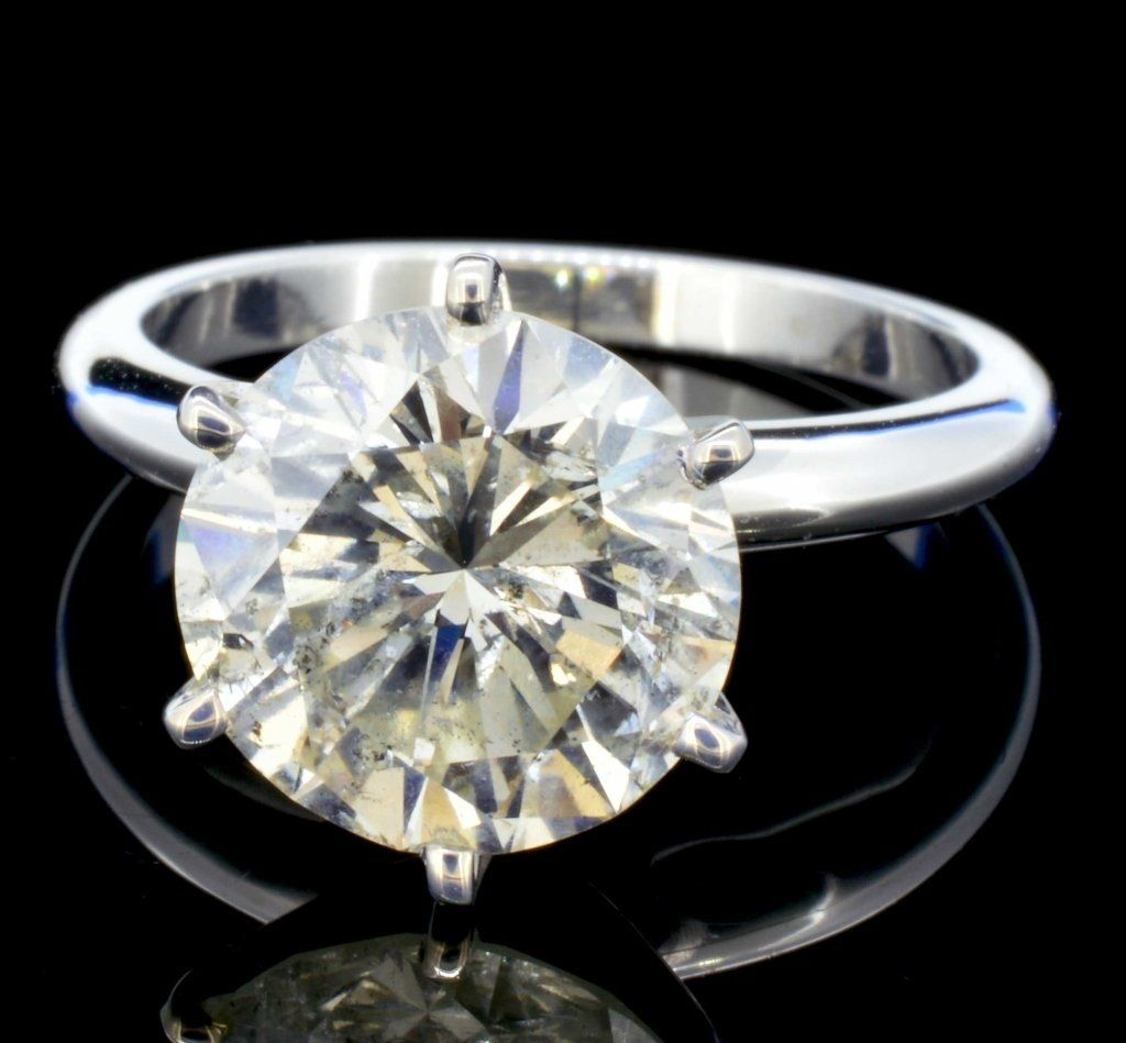14K White Gold 4.26ct Diamond Solitaire Ring