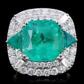 18K Gold 1221ct Emerald  258ct Diamond Ring