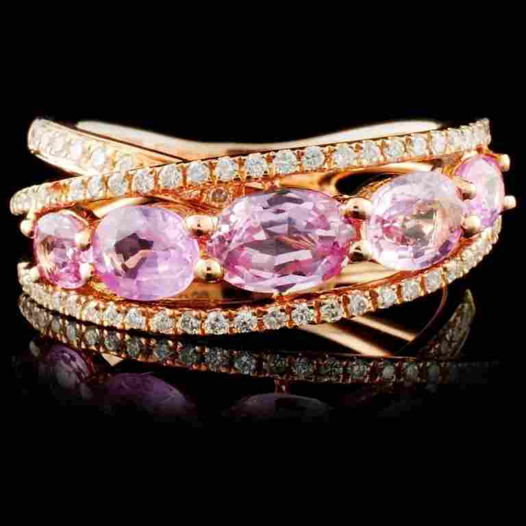 18K Rose Gold 1.88ct Sapphire & 0.29ct Diamond Rin