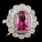18K Rose Gold 296ct Sapphire  097ct Diamond Rin