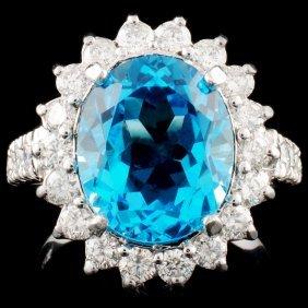 14k Gold 7.00ct Topaz & 1.75ctw Diamond Ring