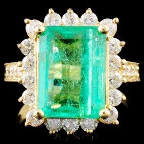 18k Gold 4.00ct Emerald & 1.00ctw Diamond Ring