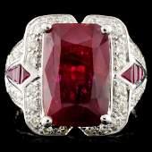 GIA 18K Gold 542ctw Ruby  038ctw Diamond Ring