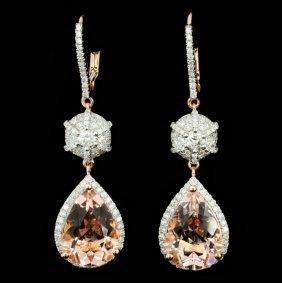 14k Gold 7.51ct Morganite & 0.94ct Diamond Earring