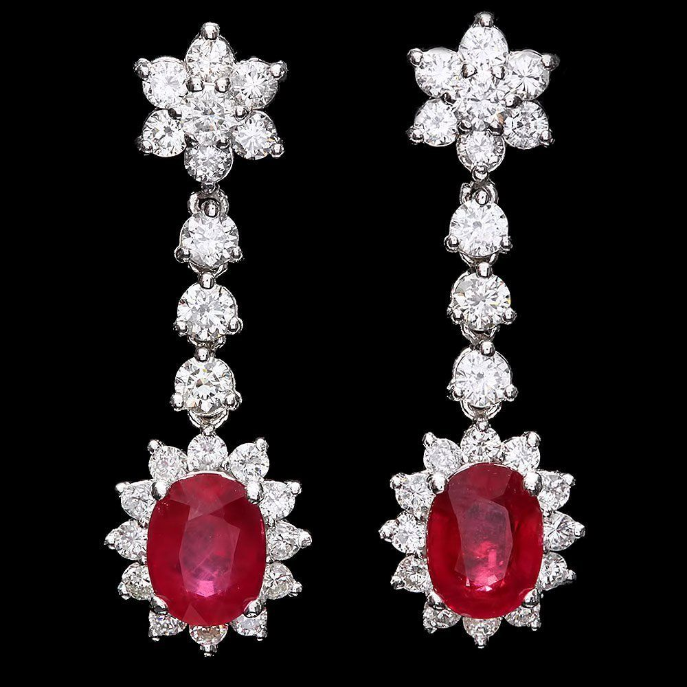 `14k Gold 5ct Ruby 2.50ct Diamond Earrings