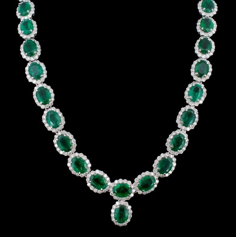 14K Gold 41.47ct Emerald & 10.92ct Diamond Necklac