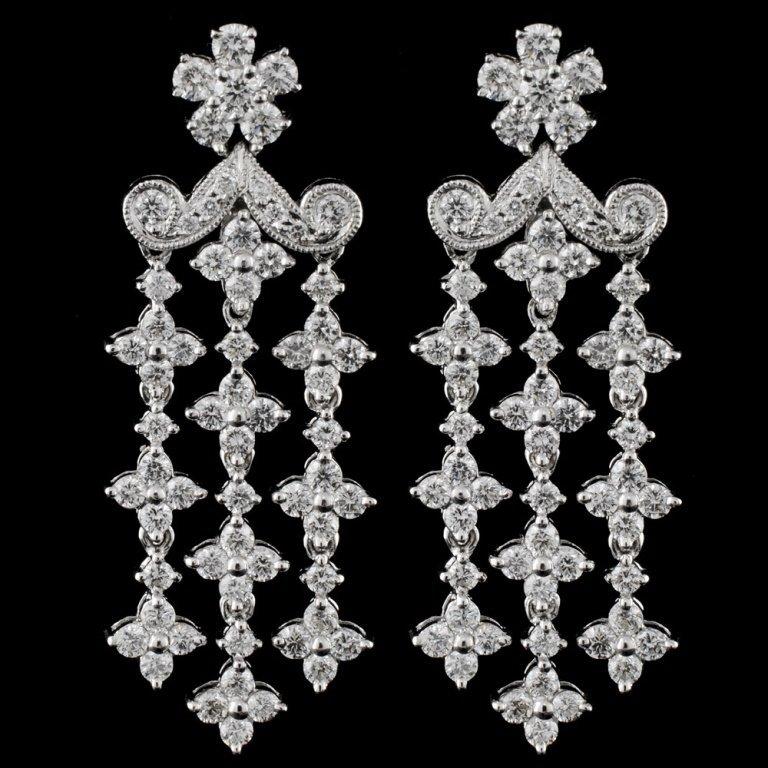 18K White Gold 2.38ct Diamond Earrings