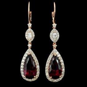 18k Gold 9.62ct Tourmaline & 1.91ct Diamond Earrin