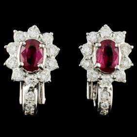 18k Gold 1.00ctw Ruby & 0.98ctw Diamond Earrings