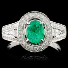 14k White Gold 0.80ct Emerald & 0.80ct Diamond Rin