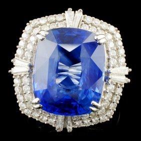 *gia 14k Gold 13.34ct Sapphire & 0.93ctw Diam Ring