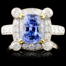 18k White Gold 4.18ct Sapphire & 1.02ct Diamond Ri