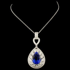 18k Gold 7.90ct Tanzanite & 1.73ctw Diamond Pendan