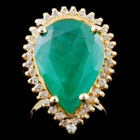 14k Gold 5.00ct Emerald & 0.25ctw Diamond Ring