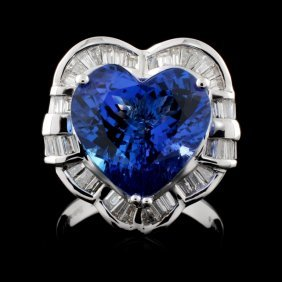 18k Gold 6.84ct Tanzanite & 1.33ctw Diamond Ring