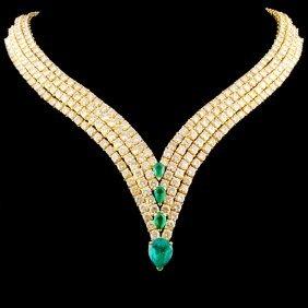 18k Gold 5.00ct Emerald & 50.00ctw Diamond Necklac