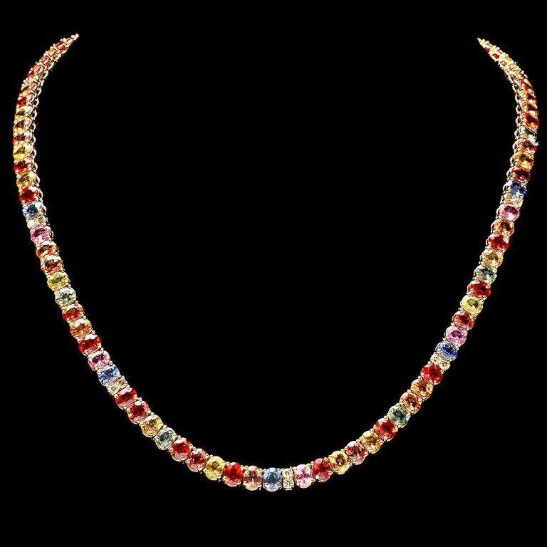 `14k Gold 44ct Sapphire 1.0ct Diamond Necklace