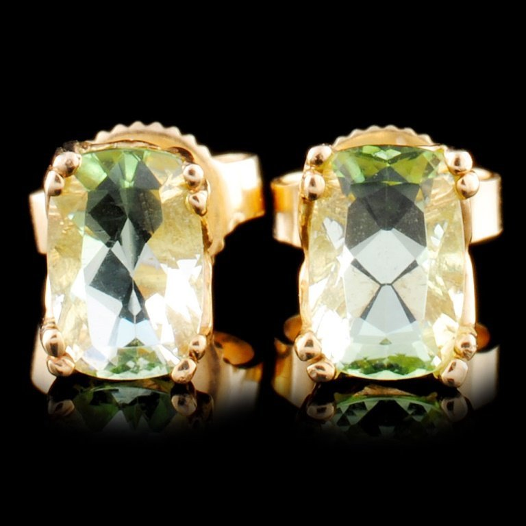 14K Gold 2.60ctw Green Beryl Earrings