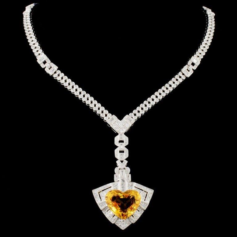 18K Gold 11.46ct Sapphire & 5.27ctw Diamond Neckla