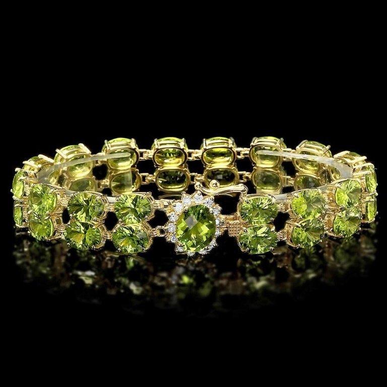 `14k Gold 45ct Peridot 0.50ct Diamond Bracelet